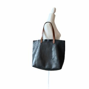 Madewell black leather tote bag